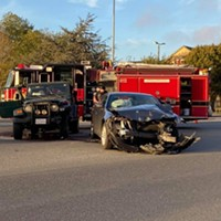 A two-car crash this afternoon by the Bayshore Mall.