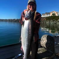 McKinleyville resident Alyssa Cardoza landed this nice king salmon last weekend while trolling the Chetco River estuary. With very little rain forecasted for the rest of the month, the Chetco estuary is the best bet for fresh kings.
