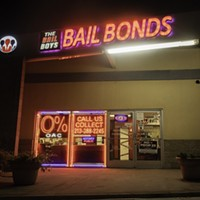 "The Bail Boys bail bonds displays a ""No on Prop 25"" poster in downtown Los Angeles on Oct. 21, 2020. Prop. 25 would end California's current cash bail system and replace it with a three tier risk assessment system."