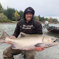 Big, late-fall kings will be making their way into the coastal rivers this weekend following the first real storms of the year. Pictured is Jeremy Baker, of Santa Cruz, with a nice king taken on the Chetco in 2018.