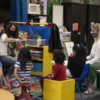 A special education pre-k class that has been permitted to reopen amid coronavirus concerns on the Lu Sutton Elementary school campus in Novato on Oct. 27, 2020.