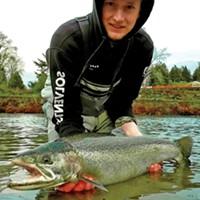 Arcata resident Elijah Goode landed a nice hatchery steelhead on Sunday while fishing the Mad River.