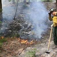 Rony Reed, a local Karuk tribal member who grew up dipnet fishing with his father just across the confluence at Ishi Pishi Falls, patrols the progress of a prescribed fire as part of the TREX burn training. He said it helped restore the fire management practices used a century ago by local Indians, until such burning was forcibly outlawed.