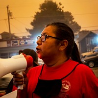 Lydia West asks for a task force dedicated to solving the cases of murdered and missing Indigenous women during a Sept. 9 protest at the Humboldt County Courthouse.