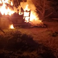 A fatal fire engulfs a travel trailer in Manila last night.