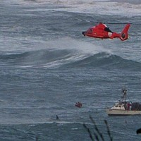 A U.S. Coast Guard helicopter near what appears to be a crab boat off Patricks Point this afternoon.