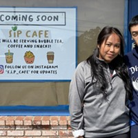 Sarah Ith Phe and Henry Phe in front of their planned S.I.P. Cafe.