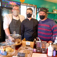 Kevin Dikes, Patch Fraga and Serg Mihaylo at the counter at Northtown Coffee.