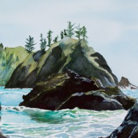 """""""Through the Rocks"""" by Maureen McGarry, at Trinidad Art Gallery."""