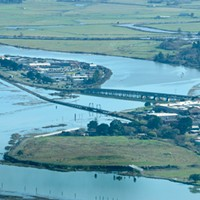 The Eureka Slough during a 2019 king tide event gives a glimpse of what sea-level rise will look like around Humboldt Bay.