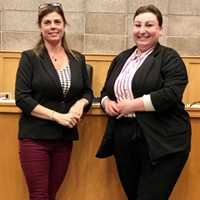 Mayor Stacy Atkins-Salazar (left) and Vice Mayor Emily Goldstein pictured in the council chambers following their selection Oct. 21 to serve in the positions until December of 2022.
