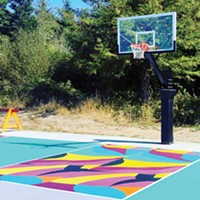 Project Rebound's basketball court mural at Arcata's Shay Park.