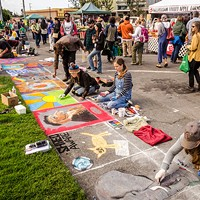 Pastel artists hard at work on the plaza sidewalks.