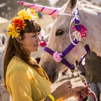 "Julie Vinum, of Blue Lake, waited with her ""unicorn,"" Gracie, to begin the Blue Lake Saddle Club's rides for children. It was the first year for the club's petting zoo and horseback ride fundraiser at the Medieval Festival of Courage in Blue Lake on Saturday, Oct. 3."