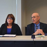Current Humboldt County Department of Health and Human Services Director Connie Beck with her predecessor, Phil Crandall, at a press conference last year.