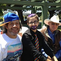 Chad Duran, Mason Trevino and Bill Shapeero at the Pride Picnic in Carson Park on Sunday.