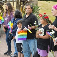 Adults and kids alike showed up for the vigil at the courthouse on Monday.