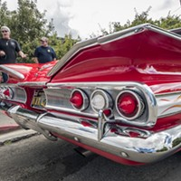 Allen Mann, of Fieldbrook (second from left), entered his 1960 Chevrolet Impala in the 12th annual Bill Nessler Car Show that followed the Annie & Mary Day parade in Blue Lake on Sunday.
