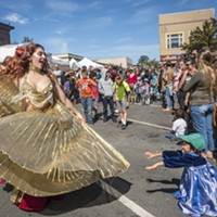 Belly dancers performed in the Samba Parade and the Ya Habibi Dance Company danced later on the plaza lawn at the North Country Fair on Saturday.