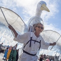 Local puppet master James Hildebrandt, of Arcata, led the All Species Parade with an avian creation.