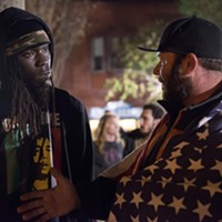 "President-elect Donald Trump supporter Chris LeRoy, right, explains his position to anti-Trump demonstrator Leon Stewart. LeRoy came to the Gazebo to counter protest a demonstration against Trump. Stewart, an HSU student, said after their encounter, ""It makes me cry as a grown man the way this country is going."""