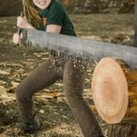 HSU Soils and Range Management major Sierra Berry, of Sacramento, handled her end of a two-person crosscut saw in the Lumberjack & Jill Show on Friday.