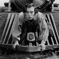 Buster Keaton rides the cowcatcher in The General