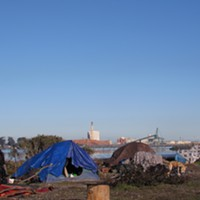 A camp on the Eureka waterfront.