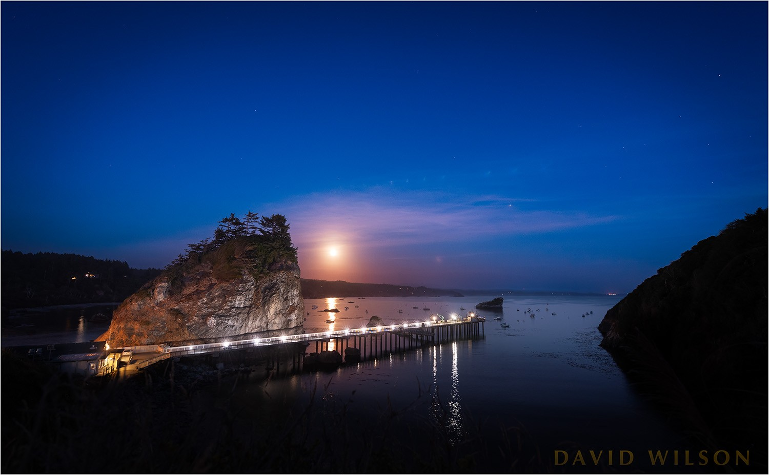 Click To Enlarge The Full Moon Rises Over Little Head, Trinidad Pier, And  Trinidad Harbor. Trinidad