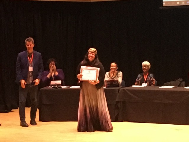 Cutcha Risling Baldy accepting her award. - SUBMITTED