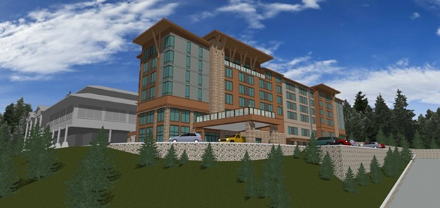 An artistic rendering of the proposed hotel project at Cher-Ae Heights Casino off Scenic Drive south of Trinidad. - SUBMITTED