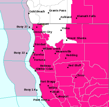 The red flag warning areas in pink. - NWS