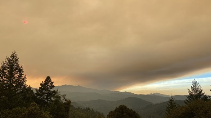Smoke moving into the Mattole Valley late yesterday. - J BRADLEY BURNS