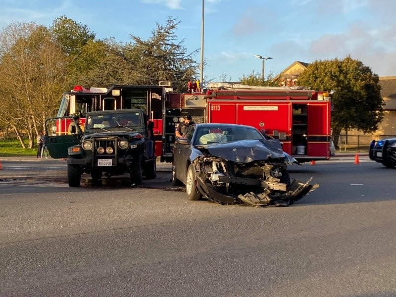 A two-car crash this afternoon by the Bayshore Mall. - MARK MCKENNA