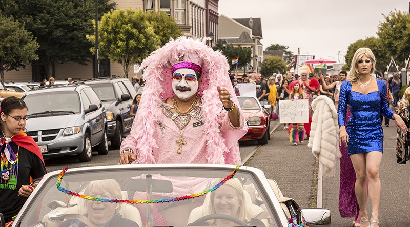 Humboldt Pride Grand Marshal Sister Juana Little worked it from the convertible. - MARK LARSON