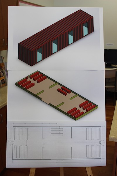 A model of a renovated container and a site plan. - THADEUS GREENSON
