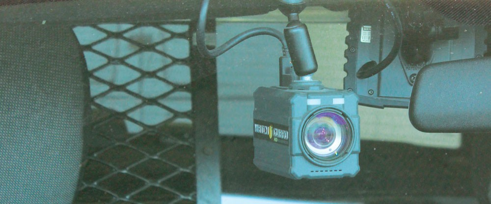 The dash camera in a Eureka Police Department patrol car.