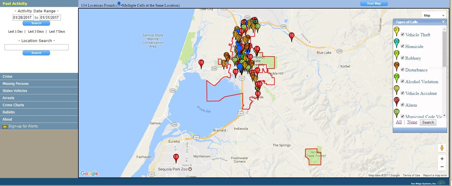Arcata Introduces Online Crime Tracking News Blog
