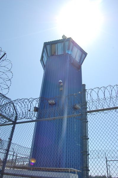 One of Pelican Bay's 11 perimeter guard towers. - FILE