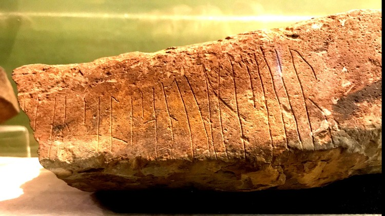 """... Are in heaven, hallowed be ..."" reads this runic fragment from the Lord's Prayer, on a stone found near Ophir, Orkney. It's now in the Kirkwall Museum. - PHOTO BY BARRY EVANS"