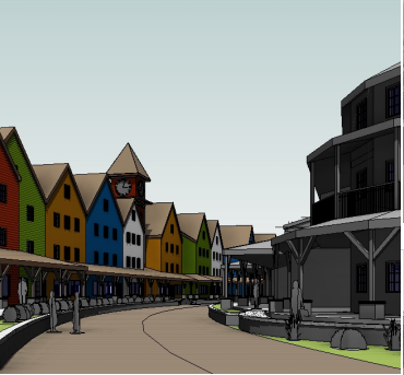 "A mock up of ""Halvorsen Village."" - FROM THE SCHNEIDER PROPOSAL."