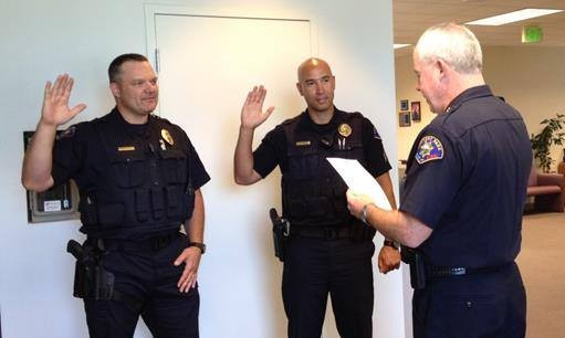 Jacy Tatum is sworn in as a Rohnert Park police sergeant in July 2015. - CITY OF ROHNERT PARK POLICE & FIRE FACEBOOK PAGE