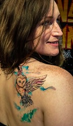 Talvi Fried, of Eureka, was back for Saturday's tattoo competition to enter her new color tattoo done on Friday by artist Enrique Torres.