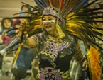 A member of the Tezkatlipoka Aztec Dance and Drum from San Jose performing at the Intertribal Gathering on Saturday.