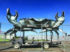Dan McCauley's shining metal crab awakens from its post-Burning Man slumber and raises its pincers in the lot of Spaulding Construction off U.S. Highway 101 in Eureka.