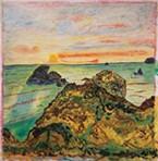 "Daniel P. Roscoe's ""Me'stsek: Meadow above Camel Rock,"" oil paint on canvas wallpaper, 2019."