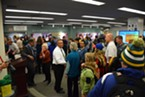 A crowd gathering around to meet new HSU President Tom Jackson Jr.