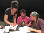 Kelly Hughes, Tigger Bouncer Custodio and Nanette Voss deliberate over casting.