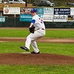 Pitcher Josh Mollerus deals on Friday evening