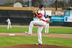 Kyle Pruhsmeier sets to pitch during Saturday's game.